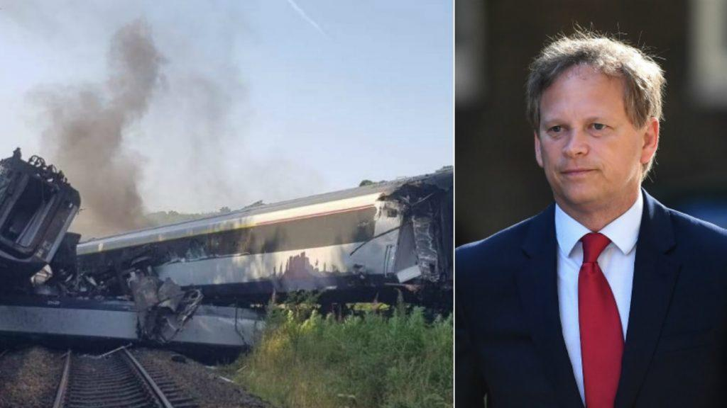 Grant Shapps: UK minister compares rail crash to toy train set.