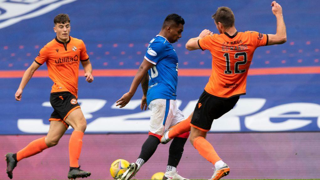 Alfredo Morelos was stretchered off after being challenged.