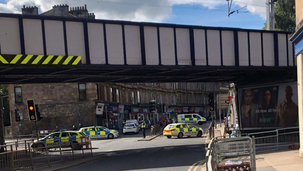 Glasgow: Police have closed a section of the road. Picture by Andrew Thomas