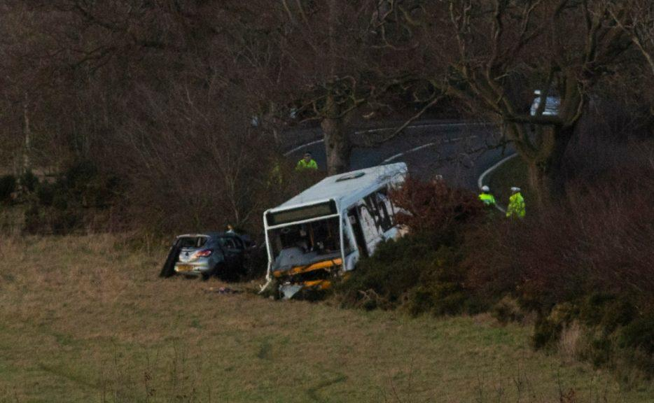 Aftermath of crash in West Lothian.