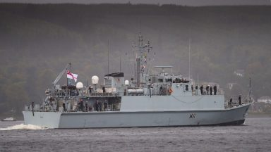 HMS Blyth, Royal Navy, returns home to Clyde.