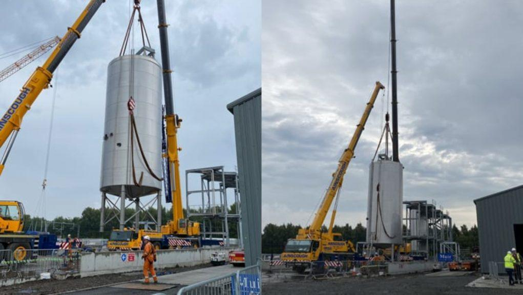 Grangemouth: The 130,000-litre tanks were craned into position on Tuesday. Pictures by Celtic Renewables
