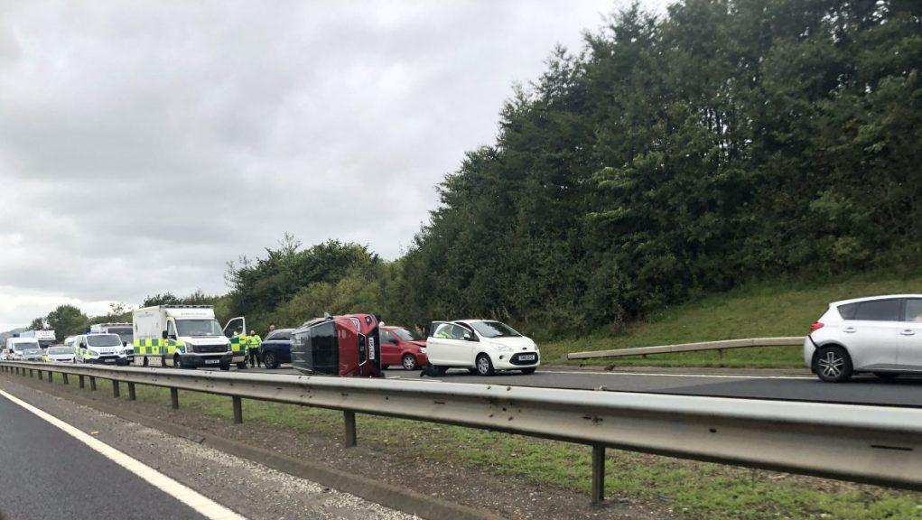 Crash: A car flipped onto its side on the A92.