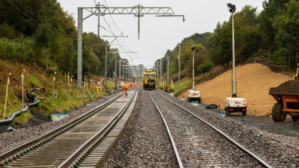 On track: The main Edinburgh to Glasgow line will reopen on Monday.