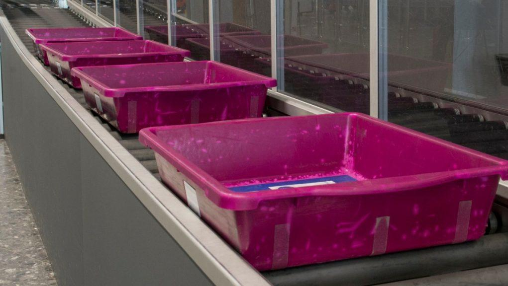 Donation: Security trays from Edinburgh Airport to be reused in African airports.