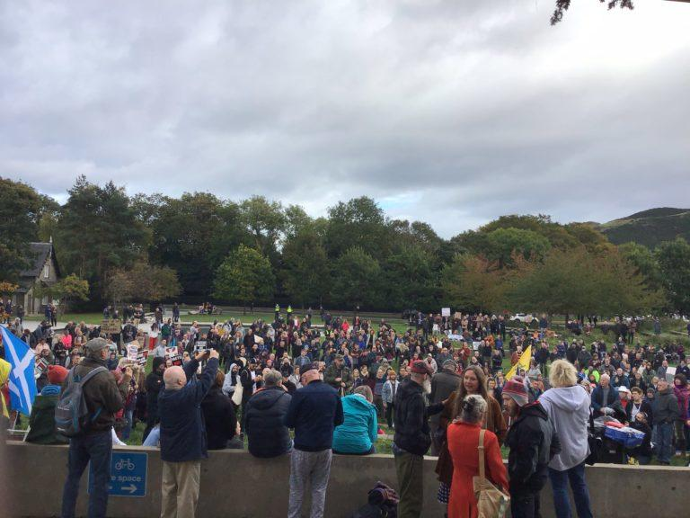Demonstration: People gather at Holyrood protesting latest restrictions.