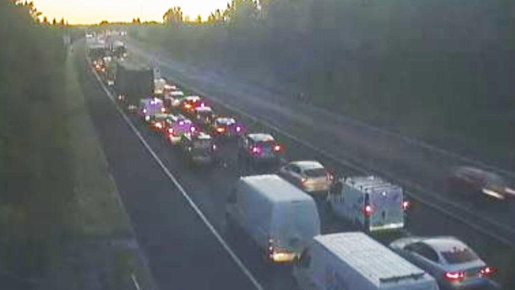 Stretch of M8 is closed following fatal road accident.