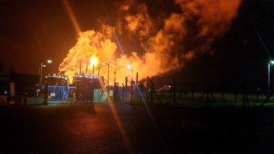 Mossmorran chemical plant flaring.