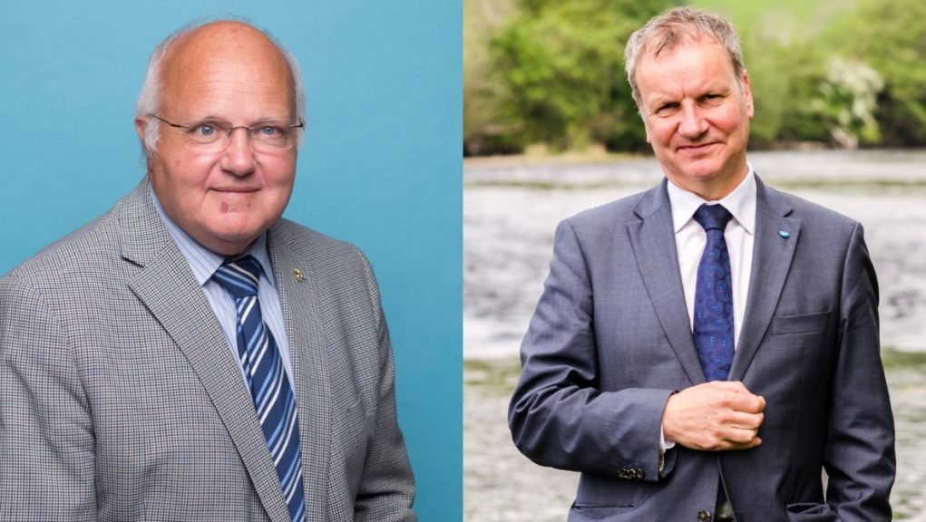 Pete Wishart (right) said the leaflet was 'grotesque' following the death of Bob Band (left).