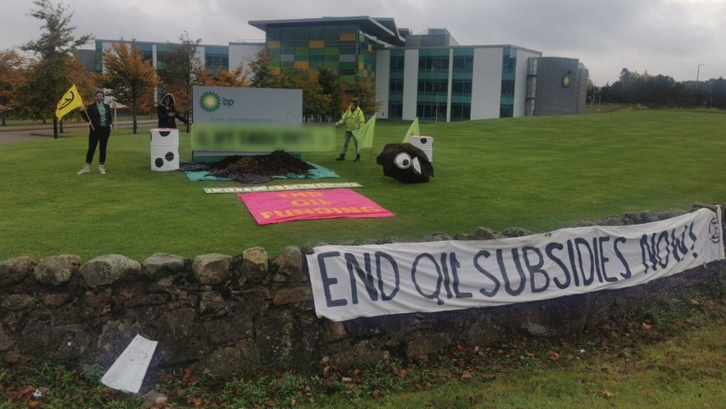 Protesters dumped manure in front of BP headquarters in Aberdeen.