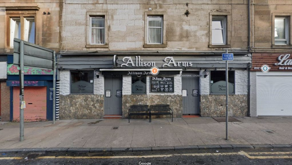 Man was assaulted at the Allison Arms pub in Glasgow.