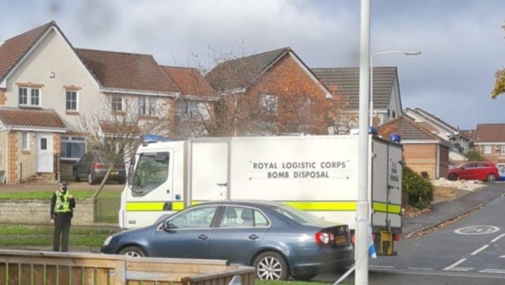 Bomb disposal van outside house in Kirkcaldy.