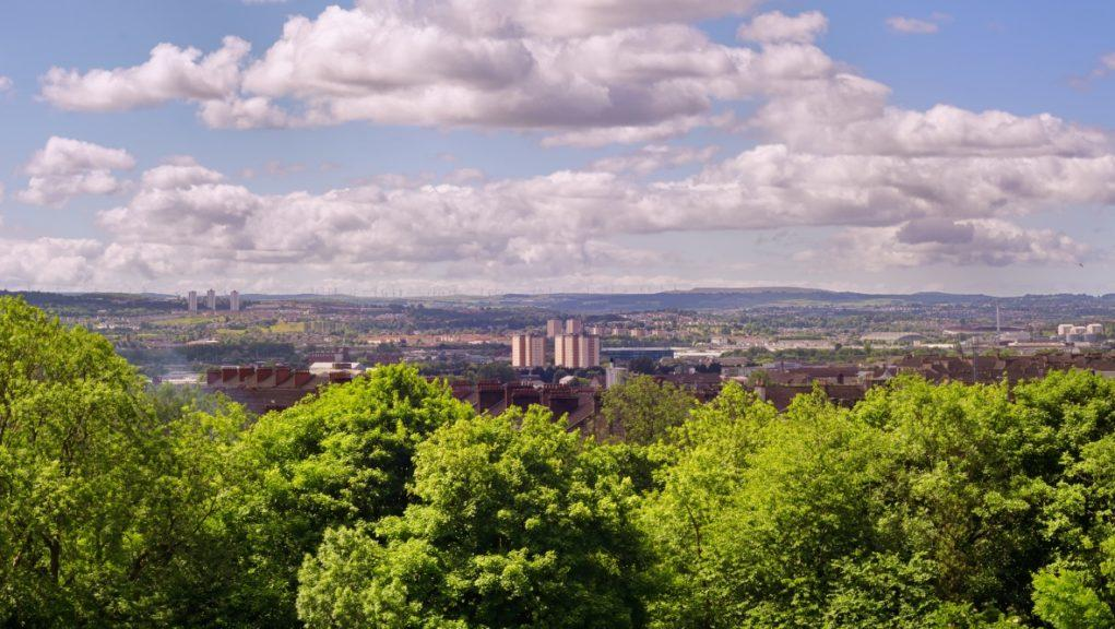 Glasgow: A view over the east end from Alexandra Park.