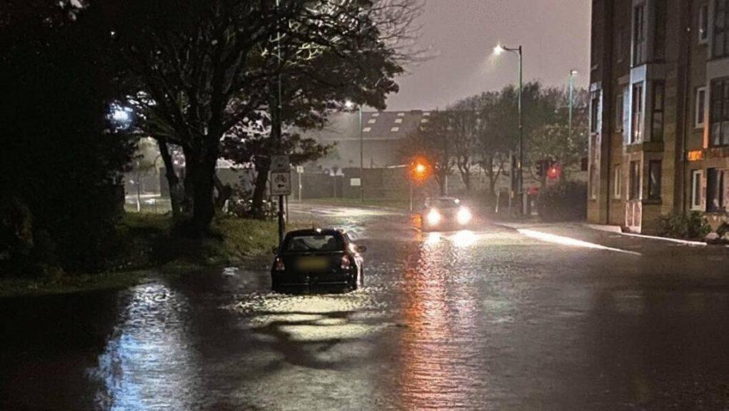 Downpour: Flooding in Links Road, Aberdeen.