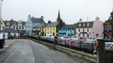 City street of Stornoway, on the Isle of Lewis, in the Outer Hebrides of Scotland. Stornoway is a town on the Isle of Lewis, in the Outer Hebrides of Scotland.