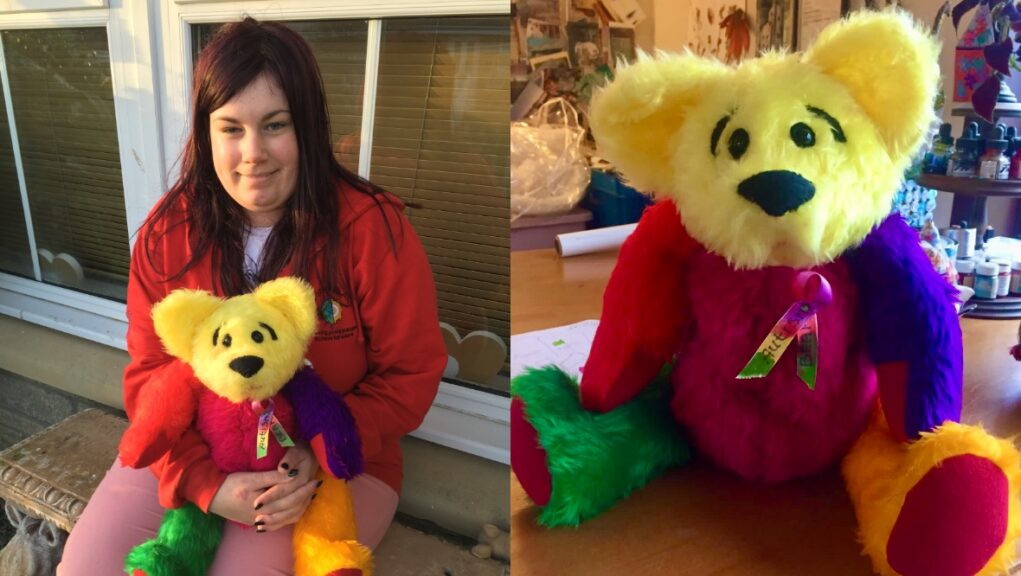 Hayley Reid with the Autism Bear she has created.