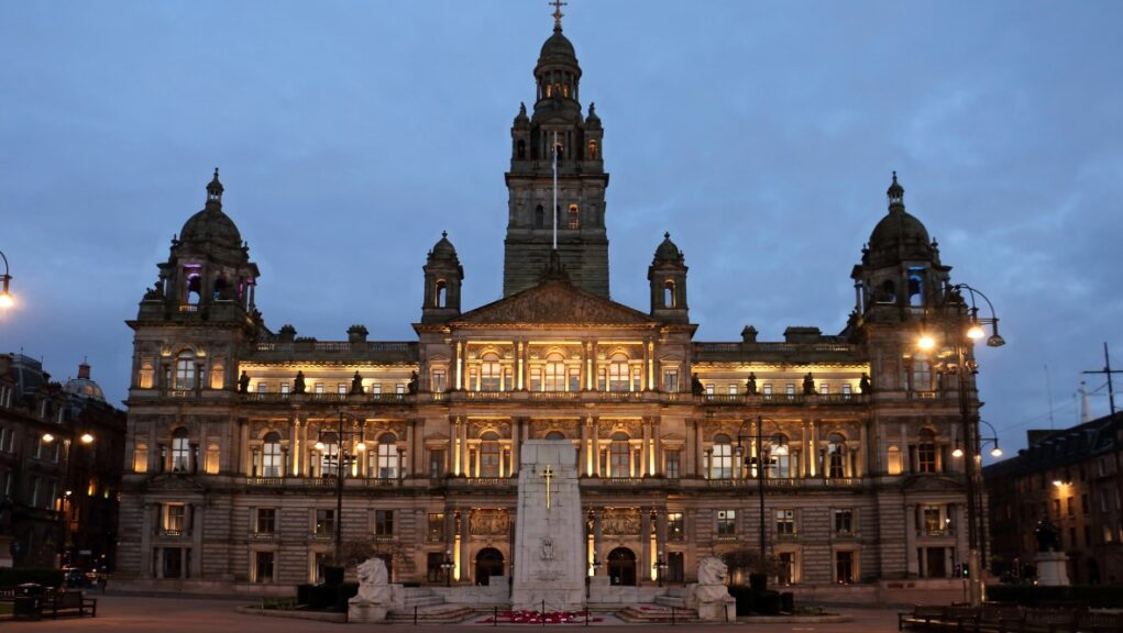 George Square: Glasgow City Council Chambers.