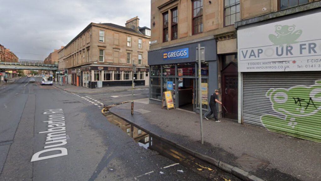 Greggs: The bakery on Glasgow's Dumbarton Road was robbed.
