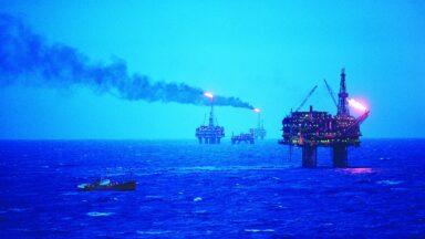 Oil rigs in the Brent oilfield in the North Sea.