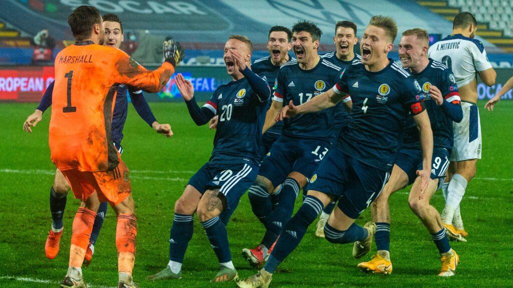 Winners: Scotland celebrating the victory.