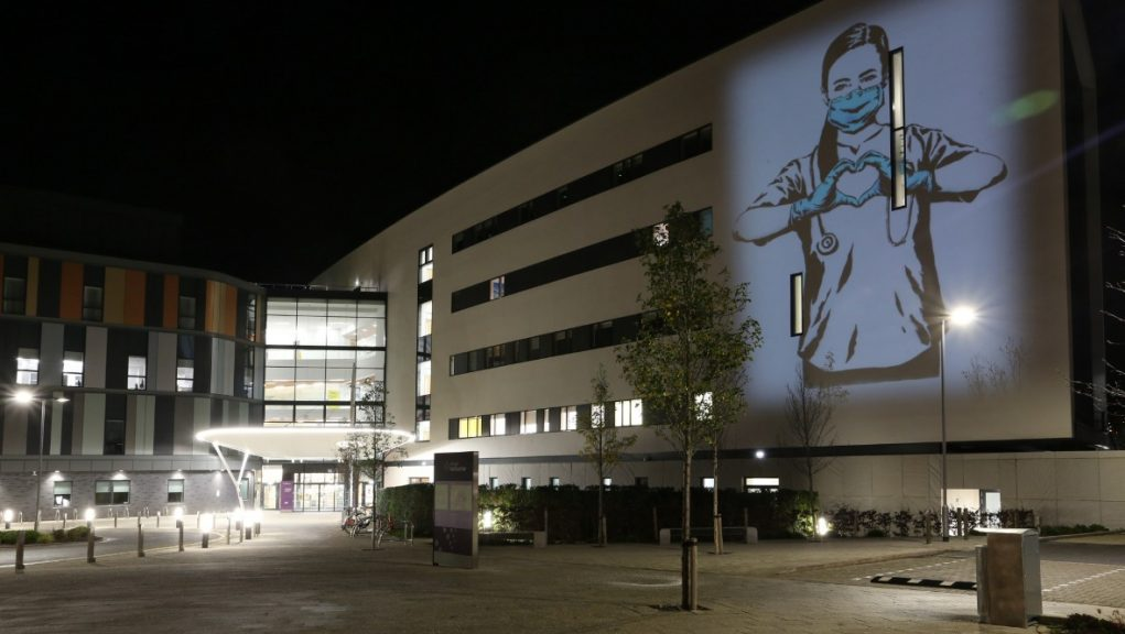 Tribute to NHS workers projected on to the Royal Infirmary of Edinburgh.