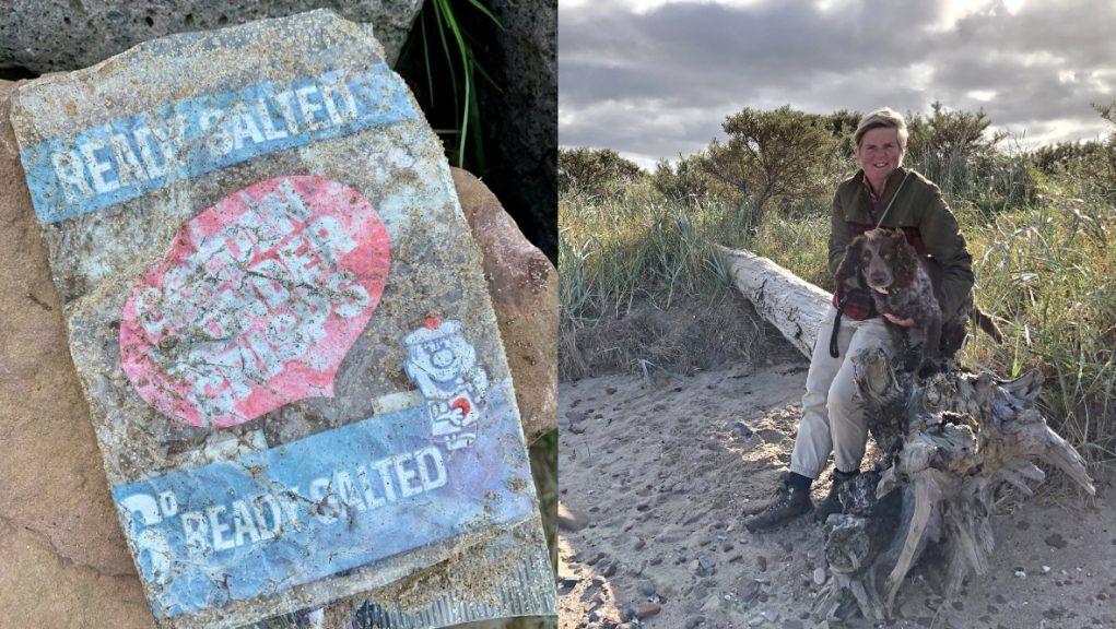 Golden Wonder: Dog walker discovers old crisp packet on beach.