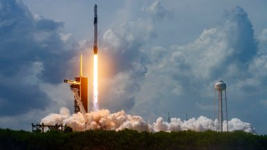CAPE CANAVERAL, FLORIDA - MAY 30: In this SpaceX handout image, a Falcon 9 rocket carrying the company's Crew Dragon spacecraft launches on the Demo-2 mission to the International Space Station with NASA astronauts Robert Behnken and Douglas Hurley onboard at Launch Complex 39A May 30, 2020, at the Kennedy Space Center, Cape Canaveral, Florida. The Demo-2 mission is the first launch of a manned SpaceX Crew Dragon spacecraft. It was the first launch of an American crew from U.S. soil since the conclusion of the Space Shuttle program in 2011. (Photo by SpaceX via Getty Images)