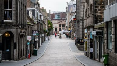 ABERDEEN, SCOTLAND - AUGUST 19: A general view of Aberdeen city centre as the city of Aberdeen and Grampian area remains under a localised lockdown during the ongoing coronavirus pandemic, on August 19, 2020, in Aberdeen, Scotland. 19/08/20 - Aberdeen GV's(Ross Parker / SNS Group)