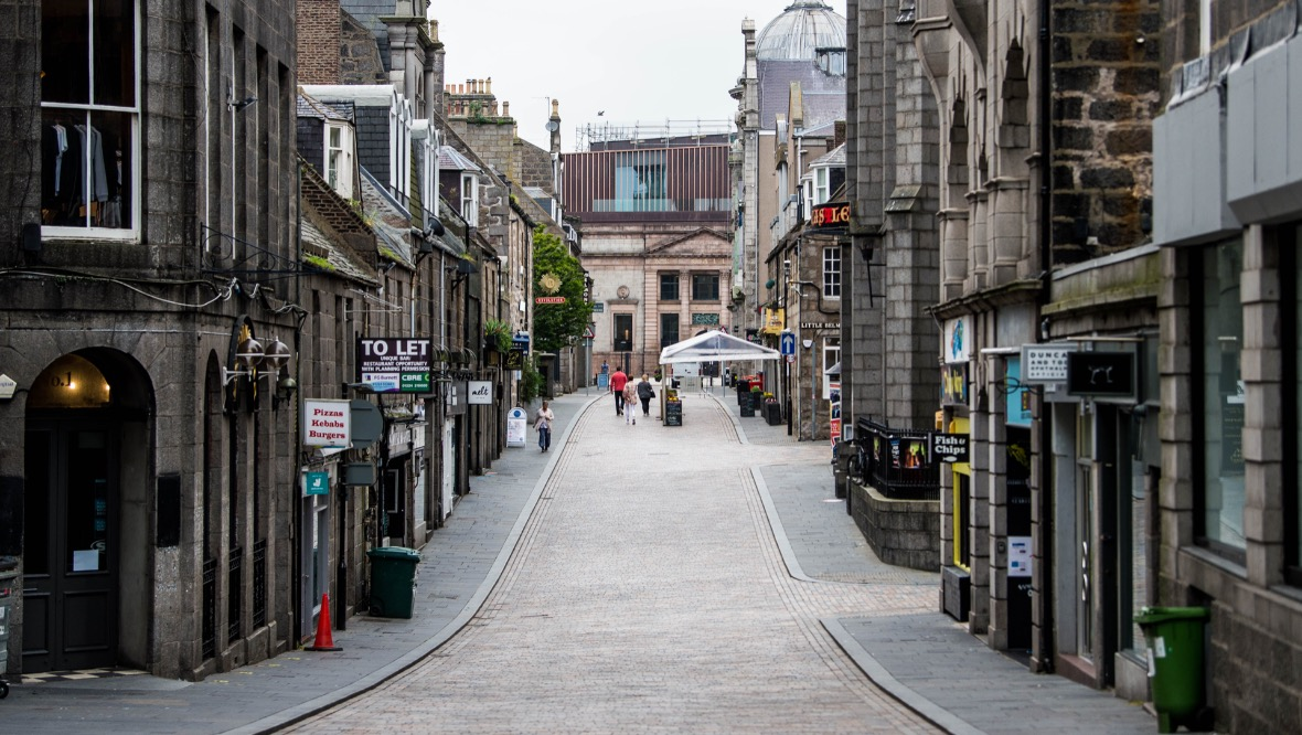 ABERDEEN, SCOTLAND - AUGUST 19: A general view of Aberdeen city centre as the city of Aberdeen and Grampian area remains under a localised lockdown during the ongoing coronavirus pandemic, on August 19, 2020, in Aberdeen, Scotland. 19/08/20 - Aberdeen GV's