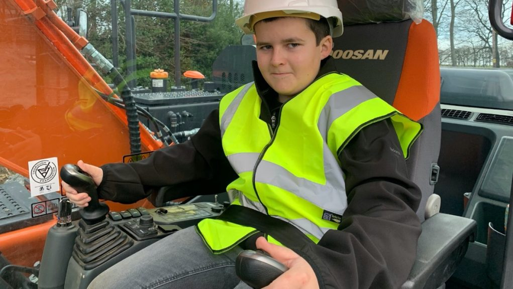 Top marks: Jamie Currie is now a trained digger operator.
