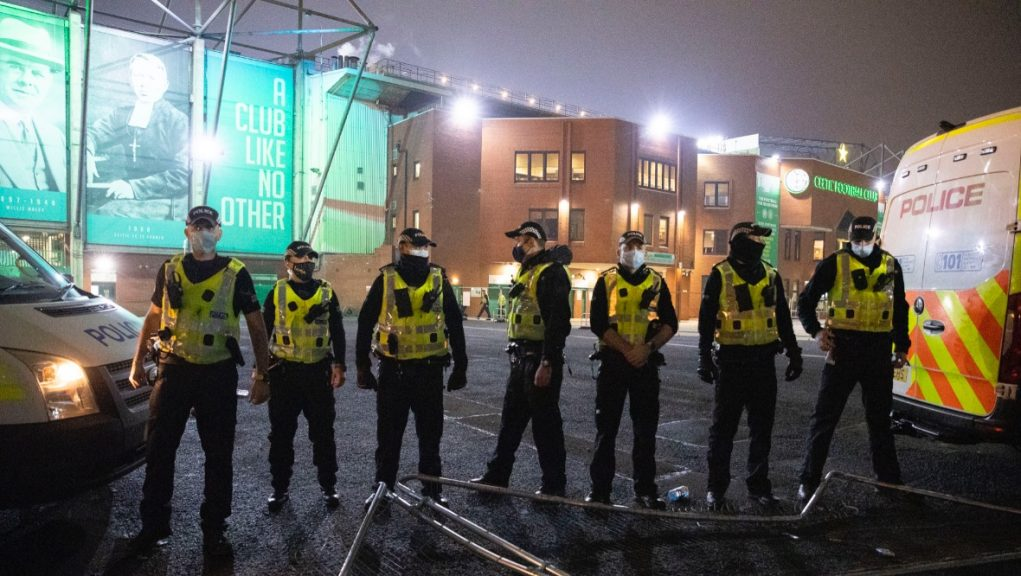 Police at Celtic Park as fans gather outside following a Betfred Cup defeat to Ross County.