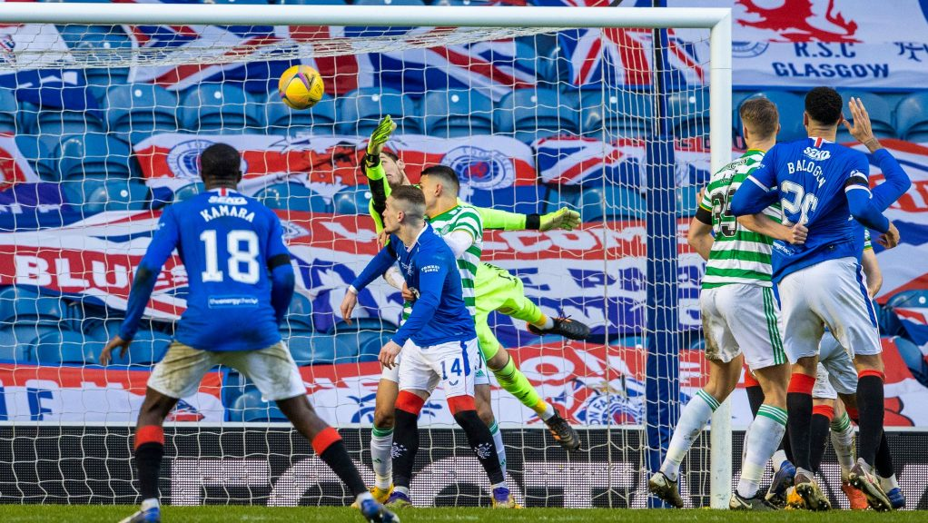 GLASGOW, SCOTLAND - JANUARY 02: Celtic's Vasilis Barkas (left) is beaten by an own goal by Callum McGregor as Rangers make it 1-0 during a Scottish Premiership match between Rangers and Celtic at Ibrox Stadium, on January 02, 2021, in Glasgow, Scotland (Photo by Alan Harvey / SNS Group)