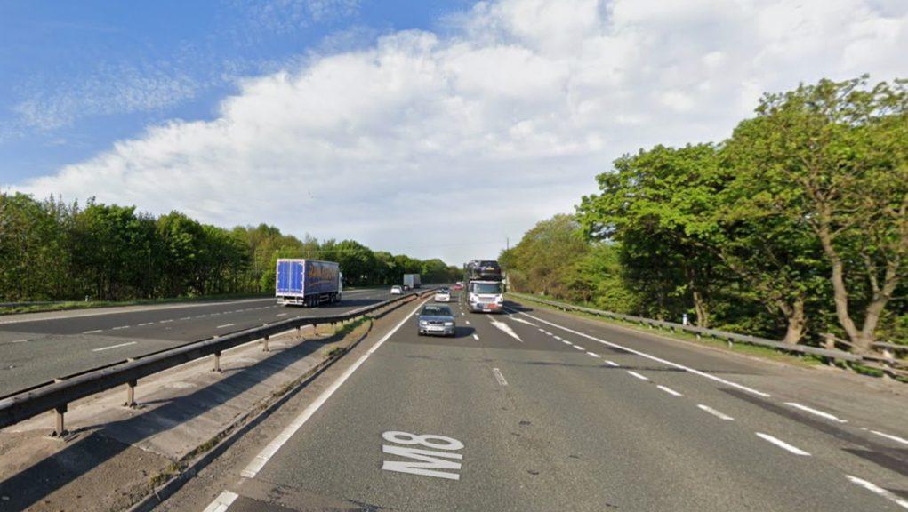 Motorway: The pedestrian was struck on the M8.
