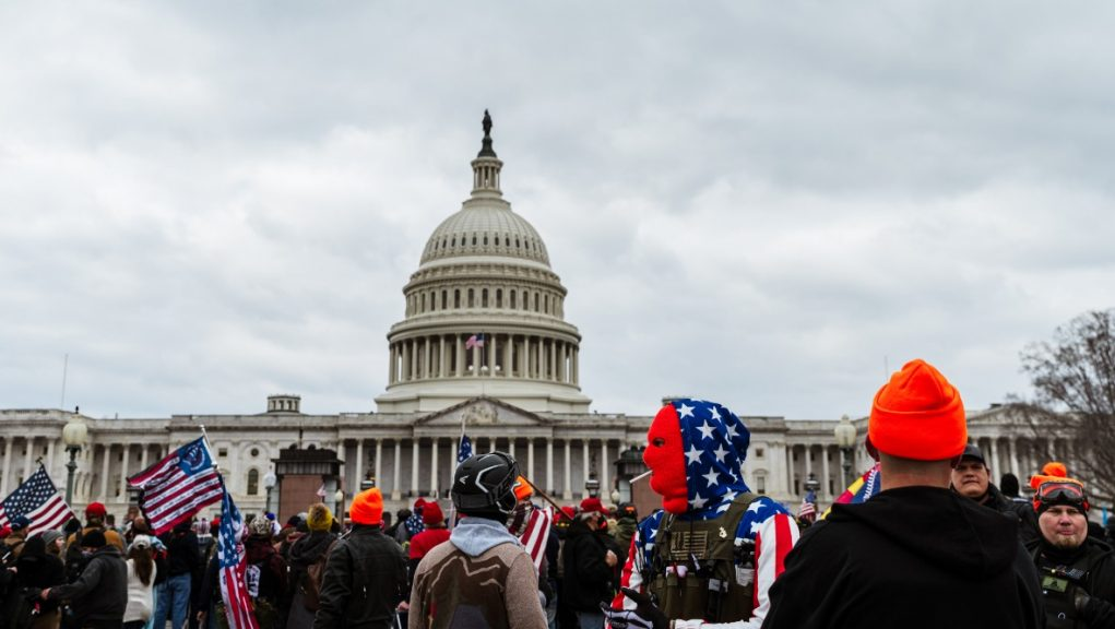 Angry scenes outside the Capitol Building on Wednesday night.