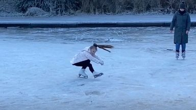 A Nine-year-old girl skates in in Strathaven Pond.