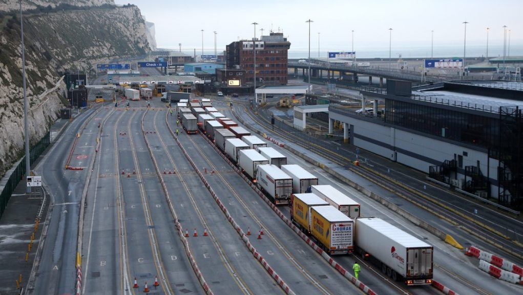 New Year: Lorries arrive at the Port of Dover.