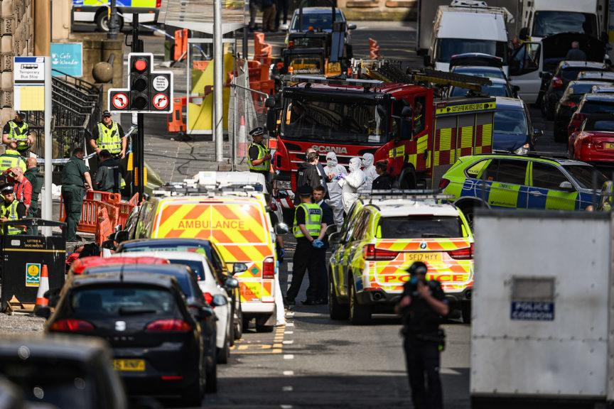 Emergency services rushed to the Park Inn hotel in Glasgow on June 26 where six people were stabbed.