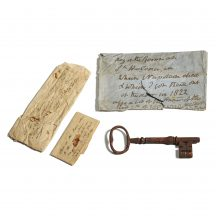 The key was found in an envelope with hand-written notes.