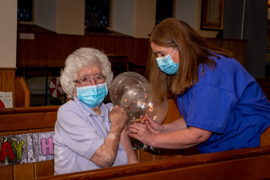 Marion Dawson: Vaccinated on 108th birthday.