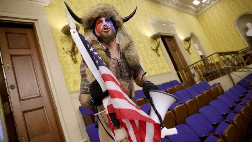 Protester inside the Senate chamber in Washington, DC.