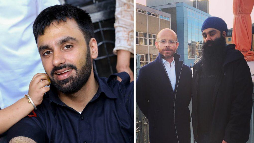 Jagtar Singh Johal (left) and Martin Docherty-Hughes MP with Gurpreet Singh Johal (right).