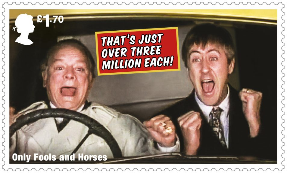 One of the stamps features the moment Del Boy and Rodney became millionaires.