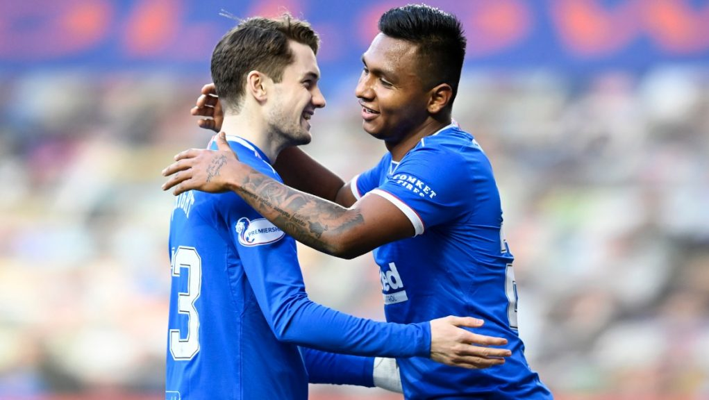 Scott Wright and Alfredo Morelos celebrate the win that's put Rangers within touching distance of the title.