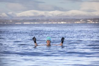 Sixty-year-old John Keogh is half way though swimming everyday of February to raise money in memory of his late son-in-law
