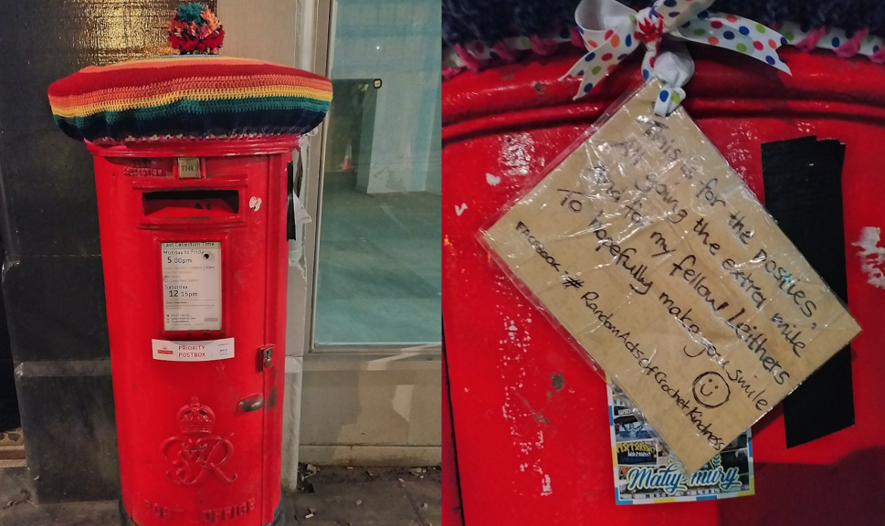 A very colourful woolly hat and an anonymous message appear on a post box in Leith.