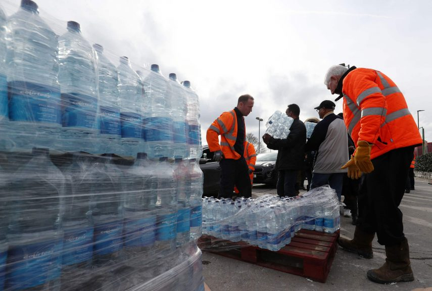 Supplies of bottled water were brought in