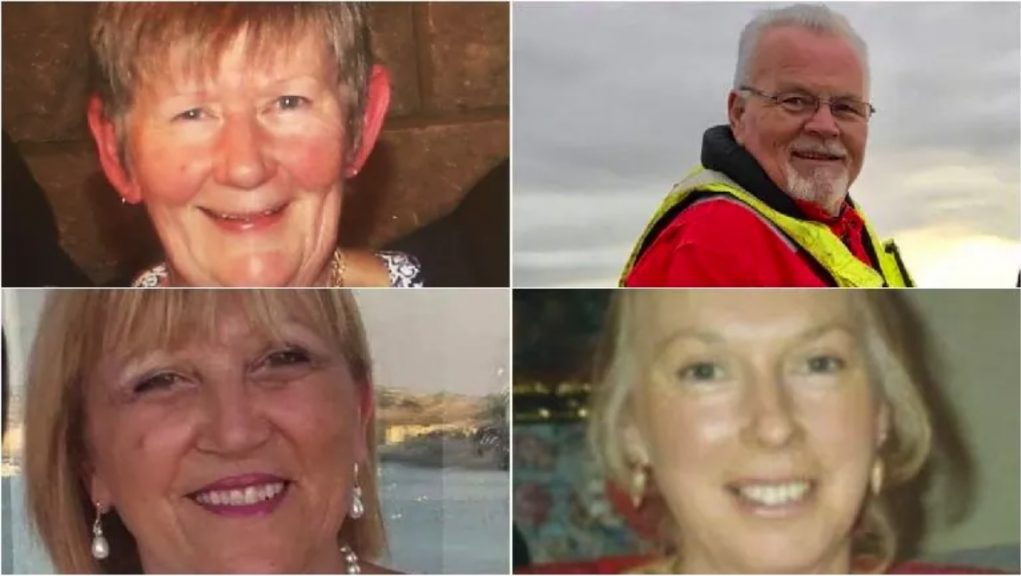 Clockwise from top left: Evalyn Collie, Ted Reid, Frances Saliba Patanè and Audrey Appleby died in the crash.