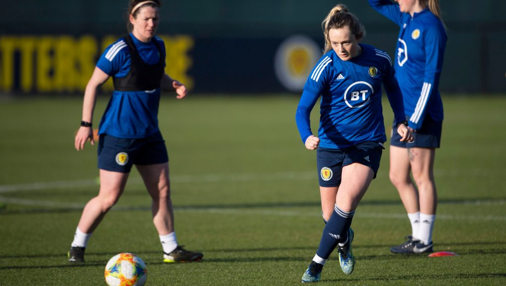 Erin Cuthbert scored twice as Scotland ran riot in Larnaca.