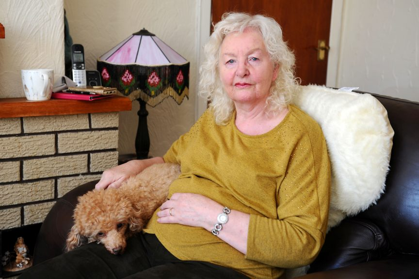 Patricia Stewart suffered a bad fall and hurt her head outside her Falkirk home.