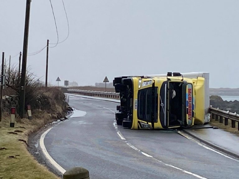Truck overturned on A77